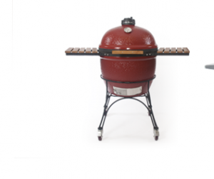 The Kamado Joe ceramic grill cooks food to perfection.