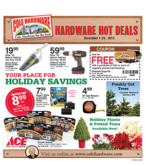 Cole Hardware's December 2013 Hardware Hot Deals