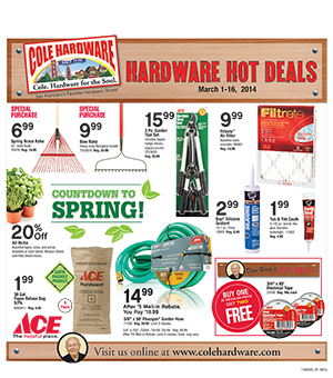 Cole Hardware's March 2014 Hardware Hot Deals