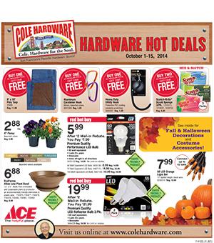 Cole Hardware's October 2014 Hardware Hot Deals