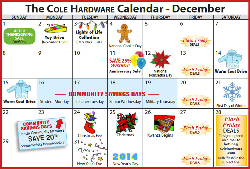 Cole Hardware's 2013 Calendar of Events