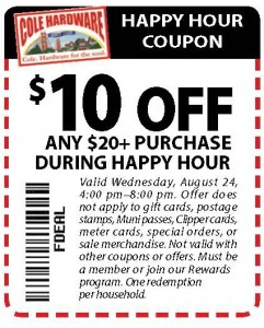 Hardware Happy Hour Coupon - $10 off