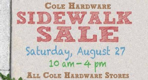 sidewalk sale Saturday, August 27 10 am - 4pm