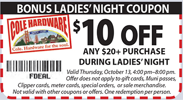 Bonus Ladies' Night Coupon - $10 OFF Any $20+ Purchase During Ladies' Night